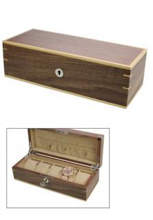 """AFE 3020 Holz Uhrenkoffer """" Kopenhagen """" Uhrenkassette Schatulle mit edlem mattem Wallnuss Funier Für 5 Damen - Herren - Kinder Uhren - Armbanduhren"""