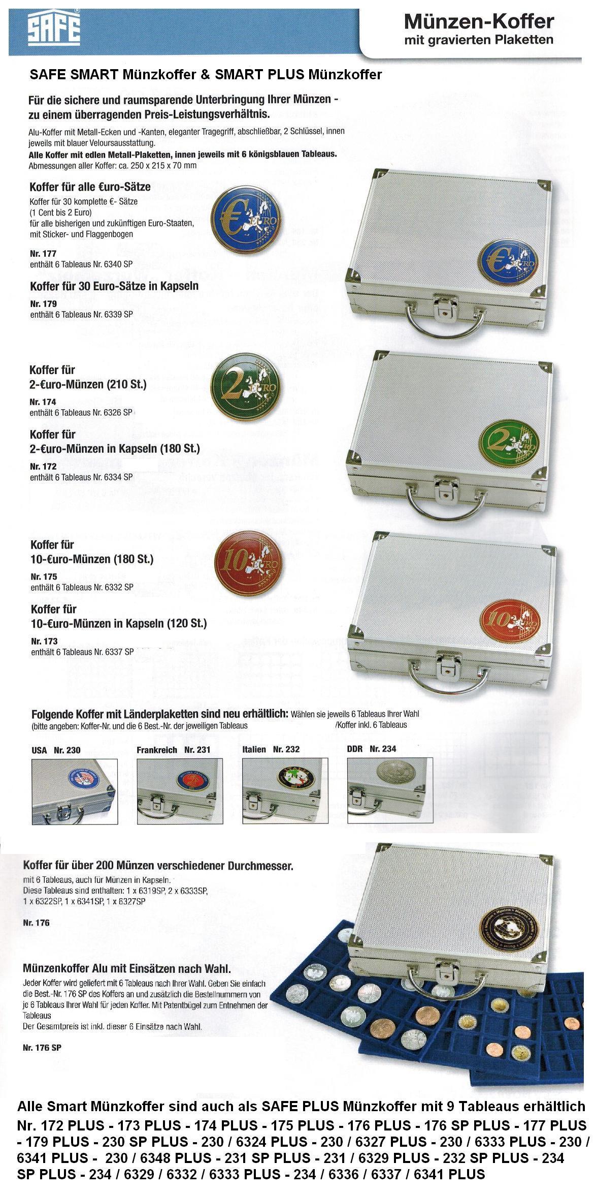 Safe 172 Plus Alu Münzkoffer 9 Tableaus 6334 Für 270 Münzen Bis 32