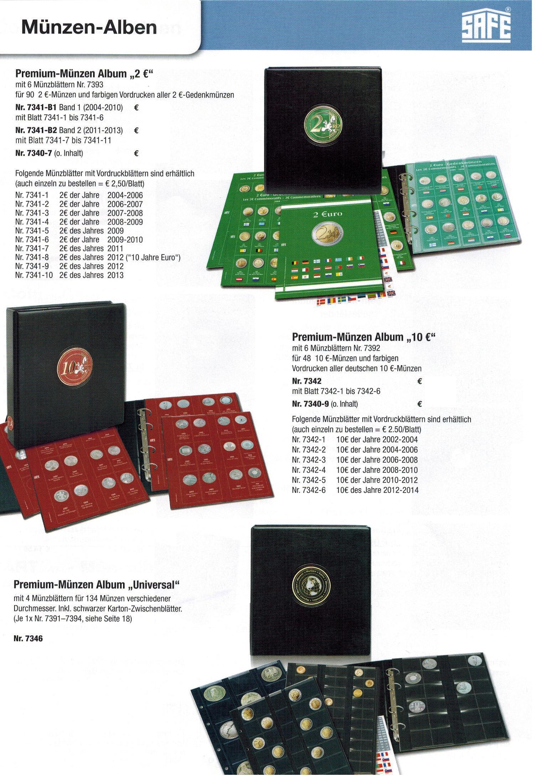 5 X Safe 7389 Premium Münzblätter Folder Für Euro Blister Bis