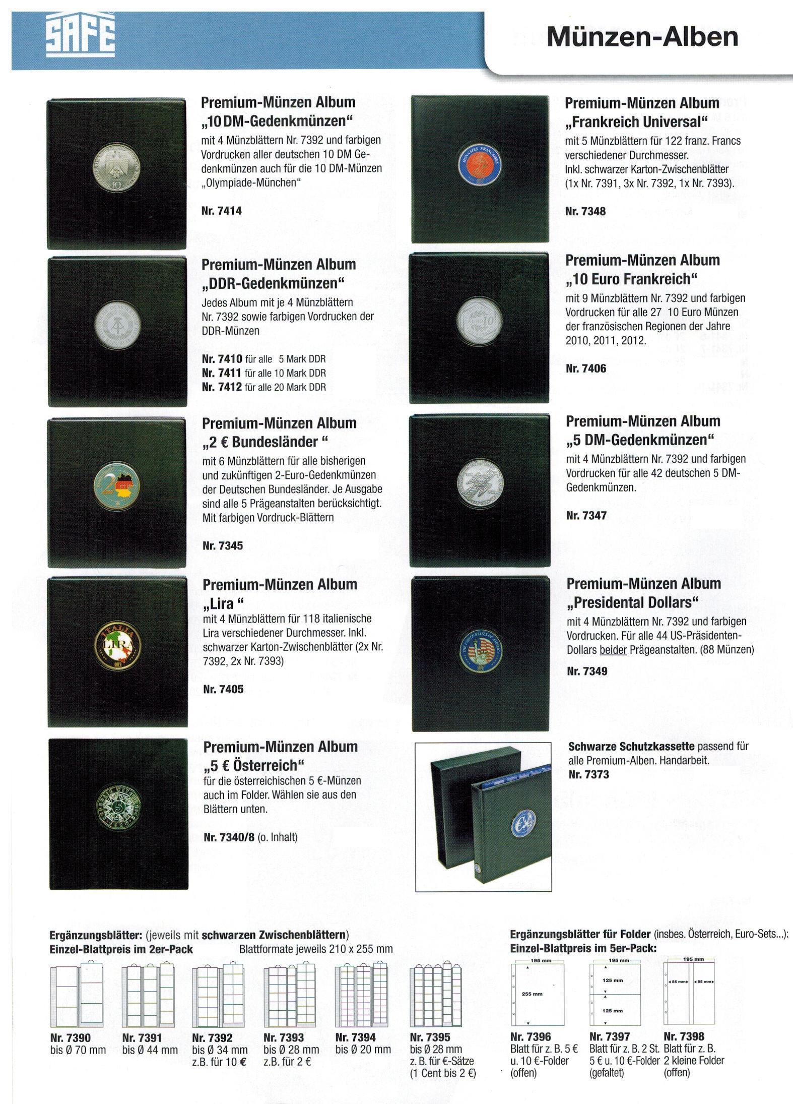 Safe 7341 18 Premium Münzblätter 7393 Mit Vordruckblättern 2 Euro