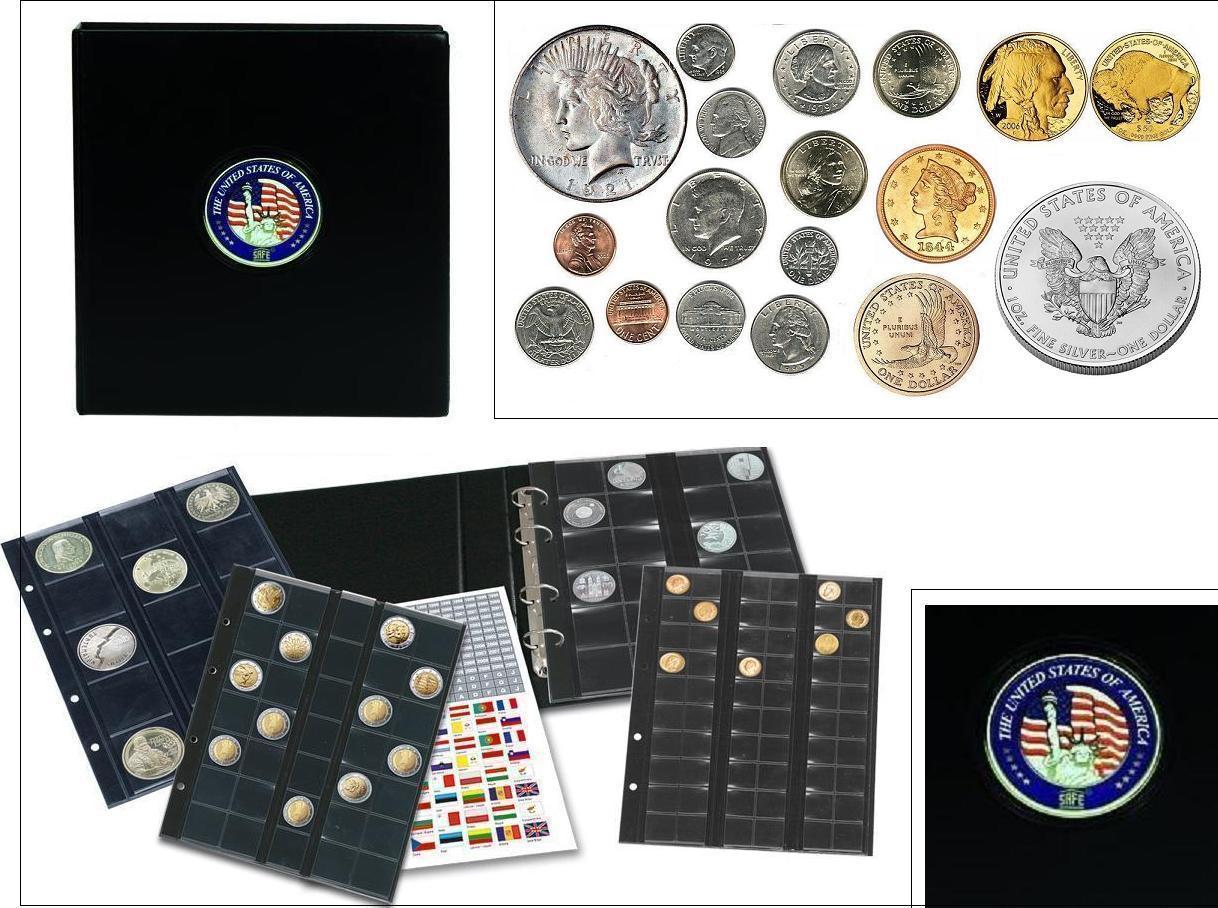 Safe 7349 Premium Münzalbum Usa Mixed Penny Nickel Dime Quarter