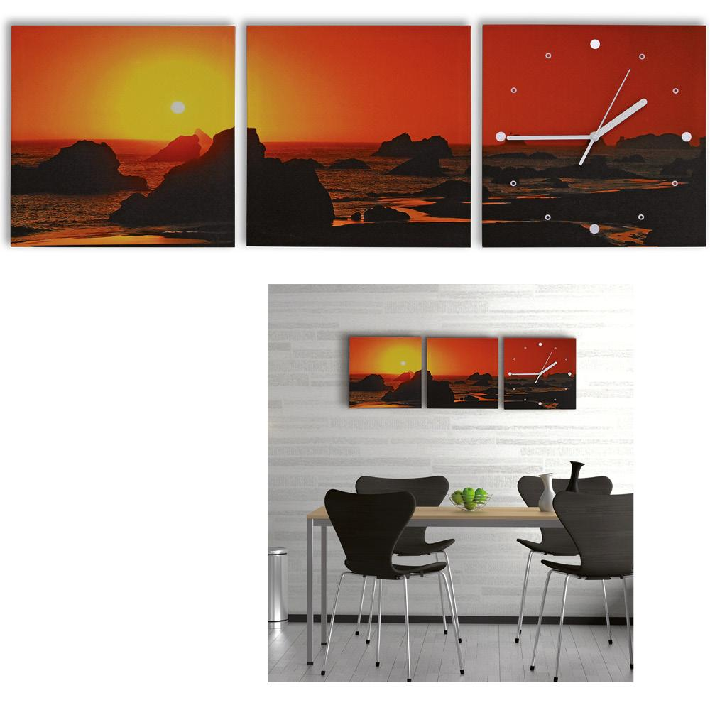 3 teilige leinwandbilder mit wanduhr aufh nge fertig kunstdruck sonnenuntergang california. Black Bedroom Furniture Sets. Home Design Ideas