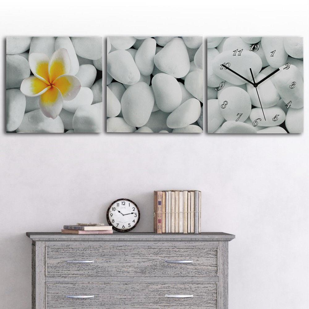 3 Teilige Leinwandbilder mit Wanduhr aufhänge fertig Kunstdruck ...
