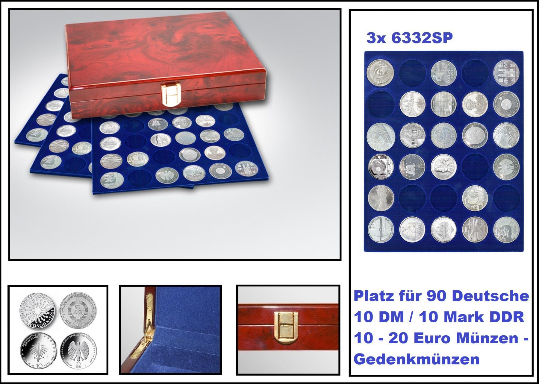 Safe 5796 Premium Wurzelholz Münzkassetten 90 X Deutsche 10 Dm 10
