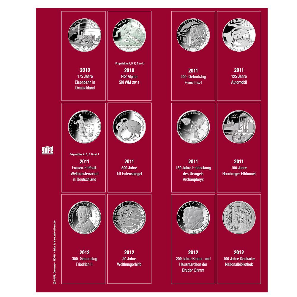 Safe 7342 6 Premium Münzblätter Ergänzungsblätter Münzhüllen 7392