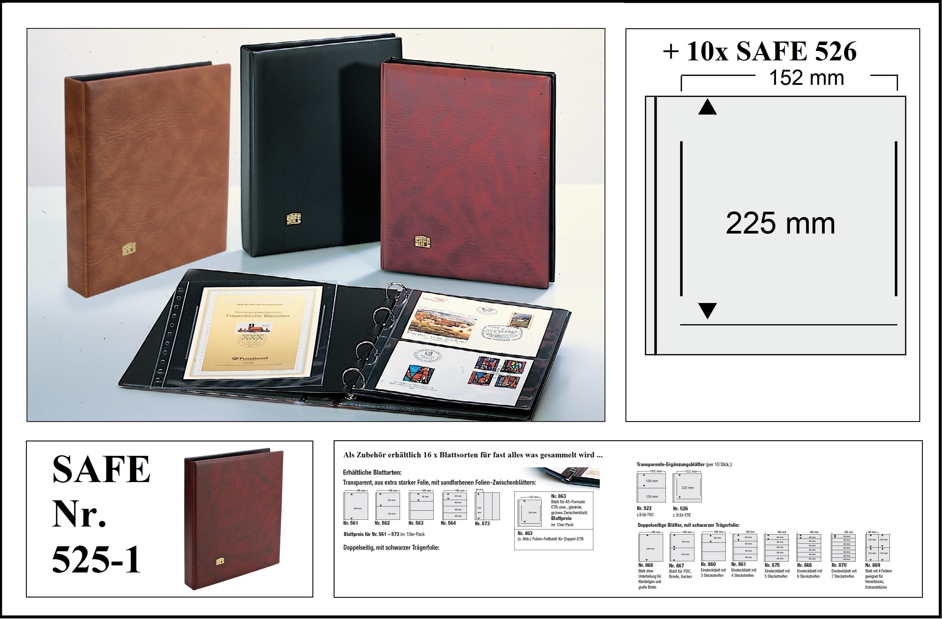 Safe 525 1 Weinrot Rot Universal Album Ringbinder 10 Hüllen 1