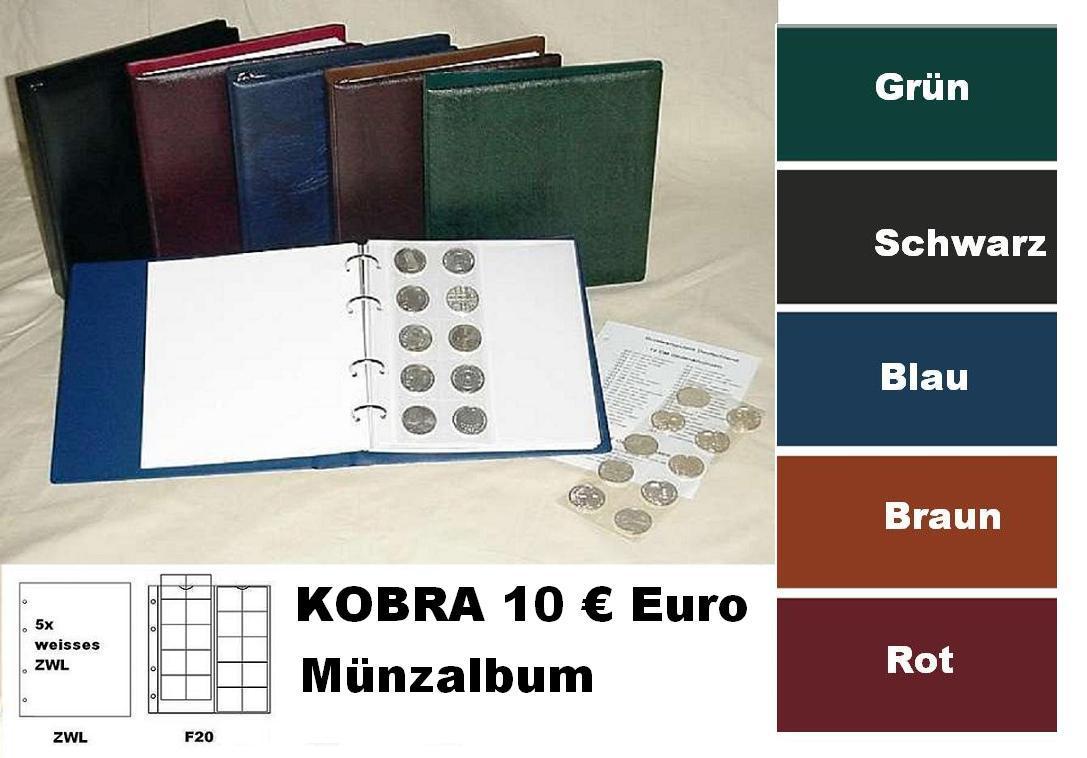 Kobra Fz So Blau Münzalbum 10 Euro Münzen 5 X Münzblättern F20