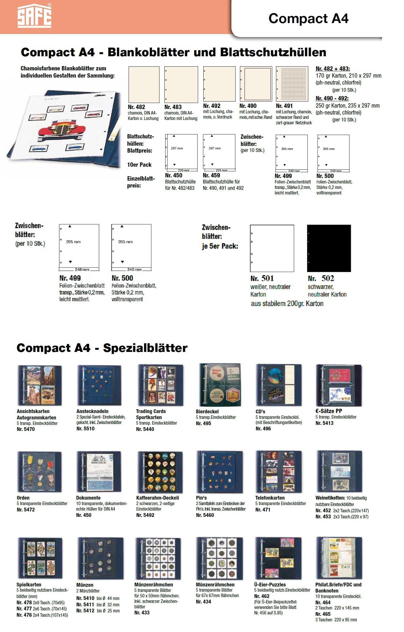 Autogrammkarten Postkarten Ideal f/ür Fotos Platz f/ür bis zu 80 Urlaubsbilder Weichmacherfrei Format 10 x 15 CM Bilder universal Lochung SAFE 5471 10 x SAFE Fotoh/üllen DIN A4