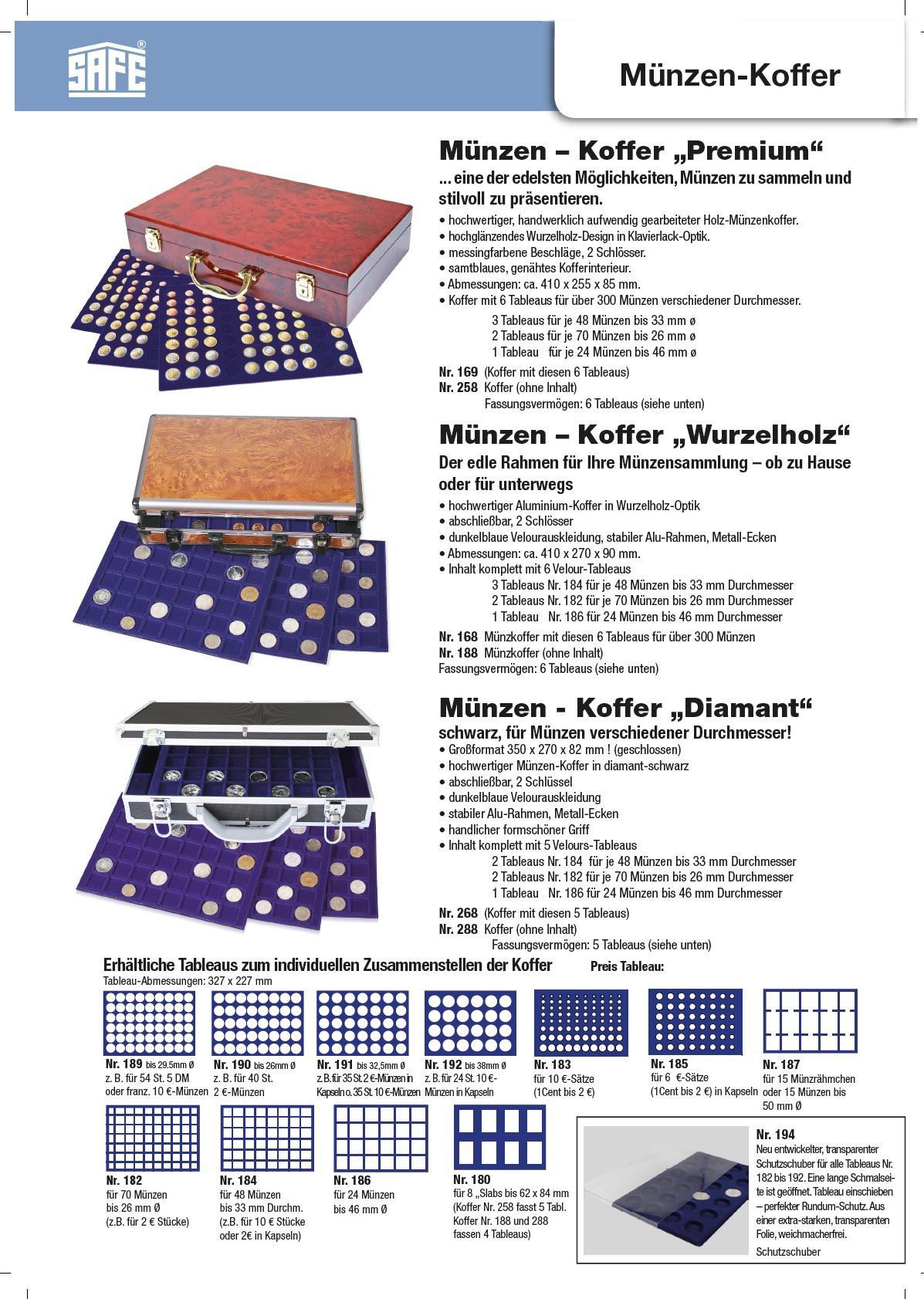 SAFE 268 -192 Alu Münzkoffer 6 Tableaus 144 runde Fächer 38 mm 10 ...