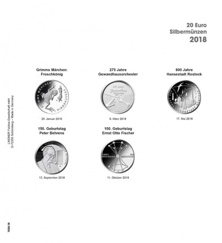 1 X Lindner 1520 18 Münzhüllen Münzblätter Ergänzungsblätter K2