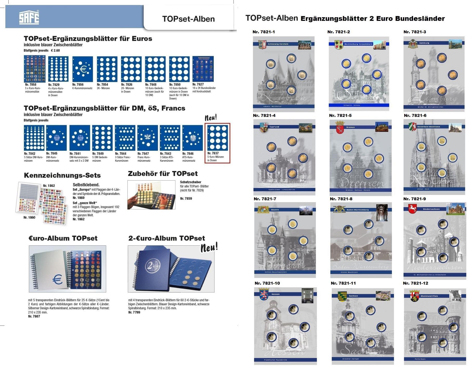 1 X Safe 7848 Topset Münzblätter Ergänzungsblätter Münzhüllen Für 10