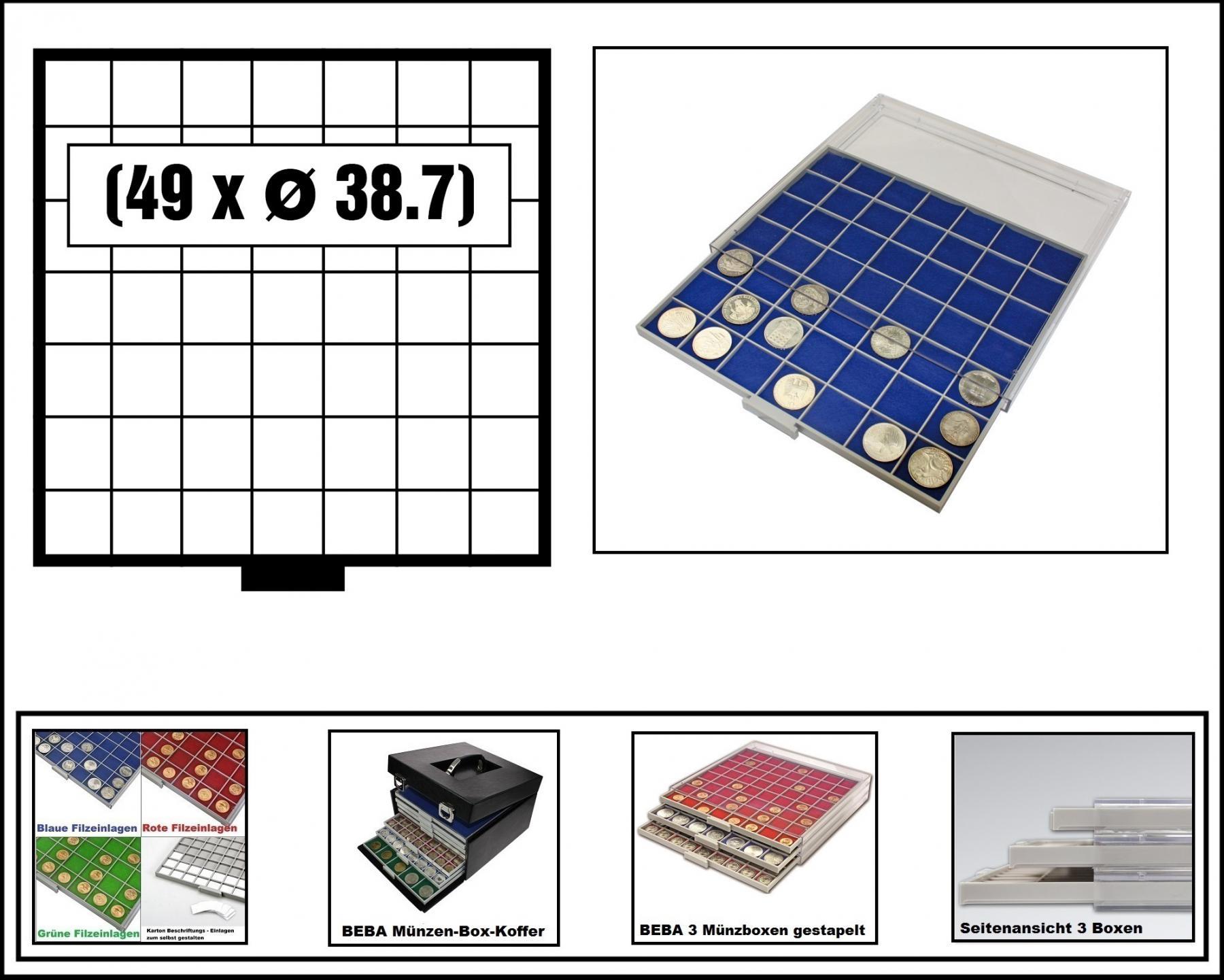 Safe 6607 4 Beba Münzboxen 49 Quadratische Fächer 38 7 Mm Blaue