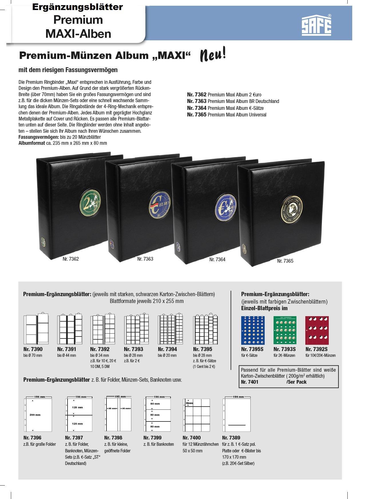 10 X Safe 7395 Premium Münzhüllen Ergänzungsblätter Für 5 Euro
