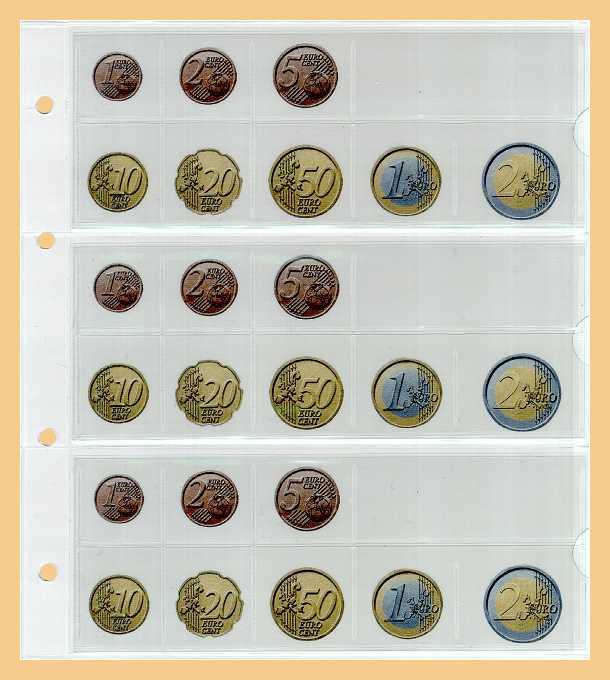 10 Kobra Fe24 Münzblätter Münzhüllen Weiße Zwischenblätter Für 3