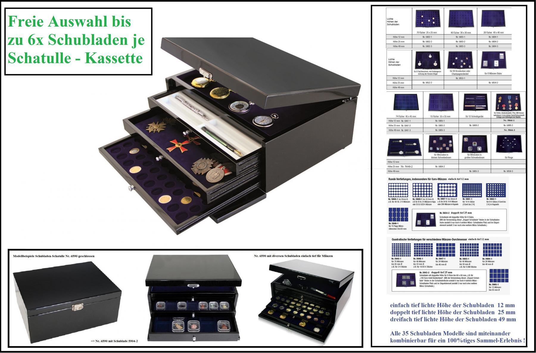 SAFE Set 6590 Schubladen Schatulle Classic KABINETT Kassette bis zu 6x Schubladen FREIE WAHL Für Münzen Schmuck Ringe Mineralien Muscheln