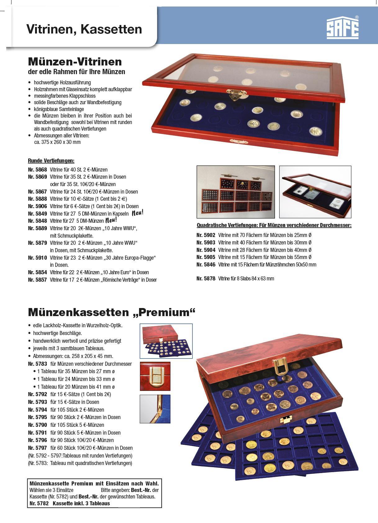 SAFE 5910 Echt Holz Münzvitrinen Vitrinen 23 x 2 Euromünzen \