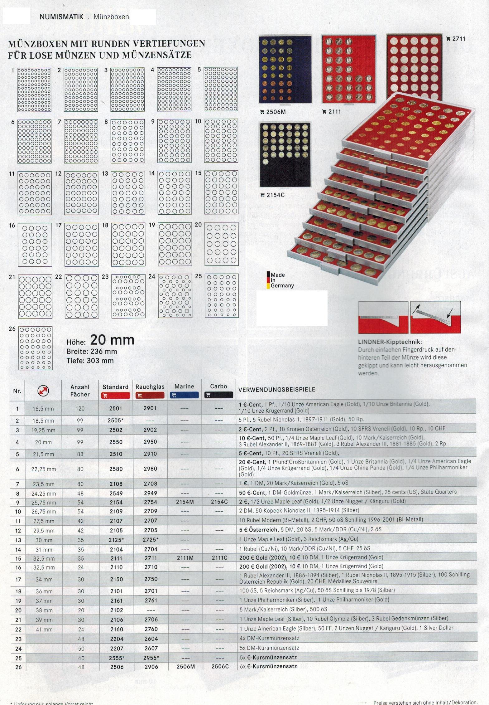 Lindner 2110 MÜnzboxen Münzbox Standard Grau 24 X 32, 5 Mm Ø 10 Dm ...
