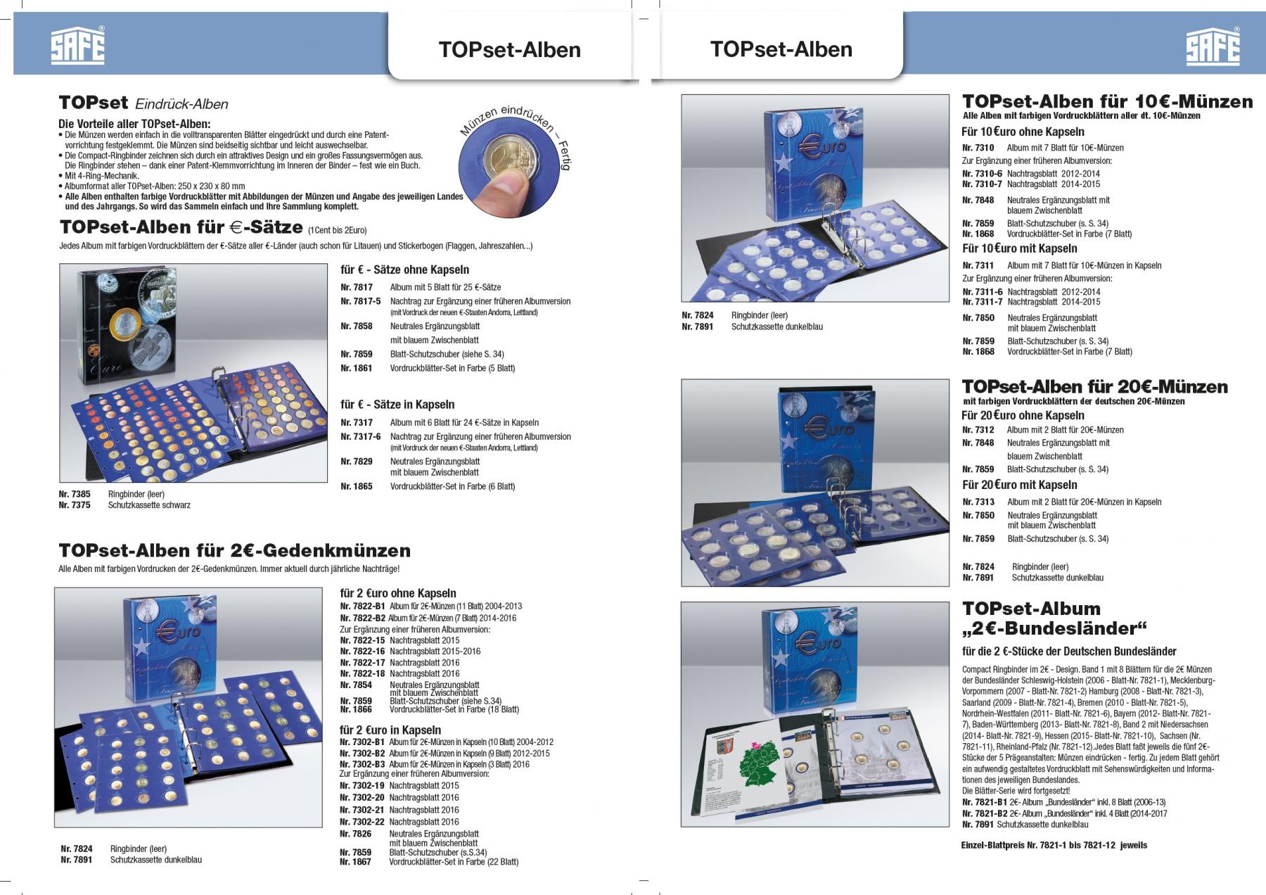 1x Safe 7850 Topset Münzblätter Ergänzungsblätter Münzhüllen 10 20