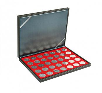 LINDNER 2364-2111E Nera M Münzkassetten Einlage Hellrot Rot 35 x Münzen 32, 50 mm für 10 & 20 Euro / DM / 10 & 20 Mark DDR