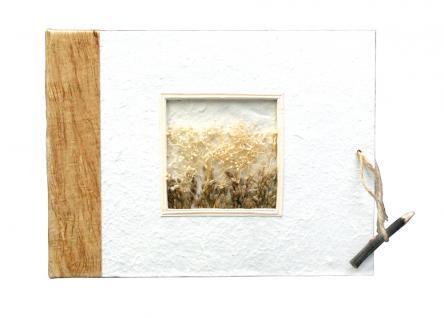 """Safe 5757 Medium """" Natur """" Fotoalbum Im Naturpapiereinband - Mit 40 Weißen Fotokartonseiten & Mit GrÄser Aplikationen Im Coverfoto - Vorschau 2"""