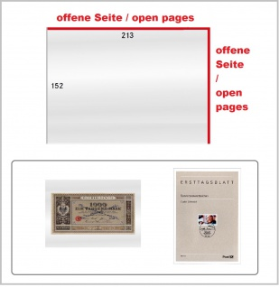 25 x LINDNER 888LSP Schutzhüllen Hüllen Banknotenhüllen 213 x 152 mm längs & seitlich offenIdeal für Banknoten Briefe DIN A5 ETB 'S