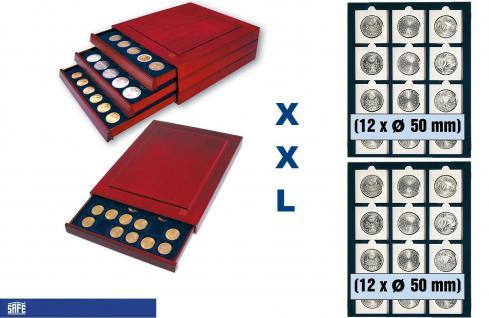 SAFE 6850 XXL Nova Exquisite Holz Münzboxen Schubladenelement mit 2 Tableuas und 24 x 50 mm Für Münzrähmchen Standard - Münzen bis 50 mm - Octo Carree Quadrum Münzkapseln