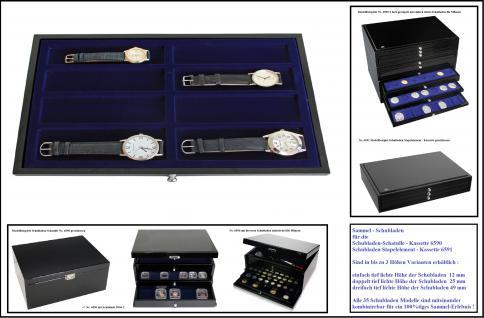 SAFE 5648-2 Schwarze Schubladen doppelt tief 25 mm blaue Einlage mit 8 rechteckigen Fächern für 8 Armbanduhren Uhren