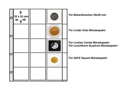 50 x Look Münzhüllen Münztaschen Münzblätter Ergänzungsblätter A4 + Beschriftungsfeld Für 15x Münzrähmchen 50x50mm - SAFE Square - Lindner Octo - Carree & Leuchtturm Quadrum Münzkapseln