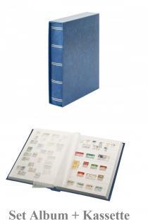 """Lindner 1162SK-B Briefmarken Einsteckbücher Einsteckbuch Einsteckalbum Einsteckalben Album """" Elegant """" Blau + Schutzkassette wattiert 60 weiße Seiten"""