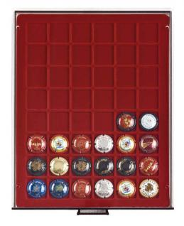 LINDNER 2748F Rauchglas rauchfarbend Champagner Kapselbox Deckel Champagnerdeckel Sammelbox für 48 Kapseln