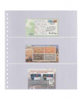 10 LINDNER 823P Klarsichthüllen mit 3 Taschen 242 x 90 mm Für Banknoten Briefe MH