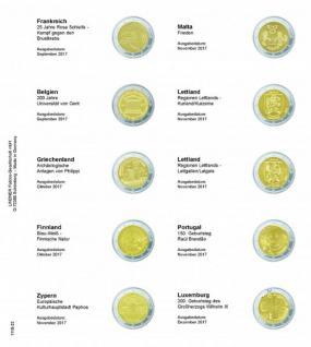 1 x LINDNER 1118-22 Vordruckblatt + K3 Karat Blatt - 2 EURO Gedenkmünzen Frankreich 2017 - Luxemburg 2017