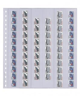 10 x LINDNER 836P Klarsichthüllen 6 senkrechte Streifen 38 x 290 mm Für Rollenmarkenstreifen