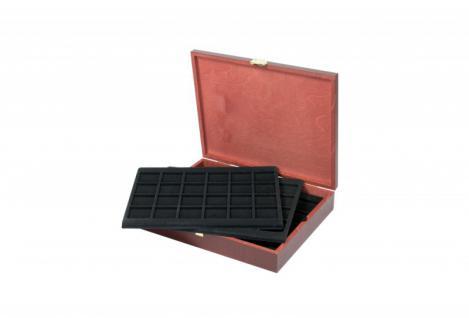 LINDNER S2495-S2124CE Echtholz Holz Münzkassetten 5 Tableaus 2124CE für 120 Münzen bis 42 mm - Ideal für USA 1 Dollar Silver Eagle Gedenkmünzen