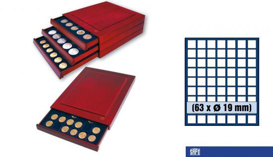 SAFE 6819 Nova Exquisite Holz Münzboxen Schubladenelement 63 Eckige Fächer x 19 mm Für 2 - 5 Pf 2 Cent € Euro - 1/10 & 1/20 Goldmünzen