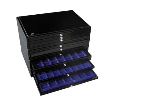 SAFE 5659-3 Schwarze Schubladen dreifach tief 49 mm blaue Einlage für 36 Ringe aller Art zum stecken - Vorschau 3