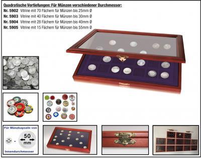 SAFE 5903 Echtholz Sammelvitrinen Vitrinen 40 Fächer bis 30 mm & in Münzkapseln bis 24, 5 Für Geocoins & TBs Travel Bugs & Geocaching