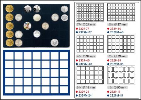 1 x LINDNER 2929M-35 Münztableaus / Einlagen Blau 35 Münzen bis 39 mm für 10 - 20 EURO Münzkapseln