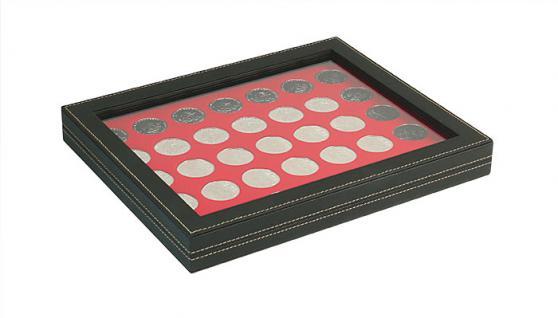 LINDNER 2367-2111E Nera M PLUS Münzkassetten Einlage Hellrot Rot mit glasklarem Sichtfenster 35 x Münzen 32, 50 mm für 10 & 20 Euro / DM / 10 & 20 Mark DDR
