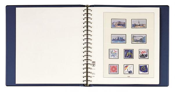LINDNER 1122 - B Set Ringbinder Standard mit 18-Ring-Mechanik + Kassette Blau Für Banknoten Briefmarken Postkarten - Vorschau 2