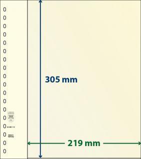 10 x LINDNER 802112P T-Blanko-Blätter Blankoblatt 18-Ring Lochung - 1 Tasche 305 x 219 mm