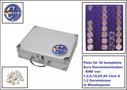 SAFE 279-1 ALU Münzkoffer - Sammelkoffer SMART Deutschland 3D Plakette Für 30 x komplette Euro Kursmünzensätze KMS 1, 2, 5, 10, 20, 50 Cent & 1, 2 Euromünzen in Münzkapseln