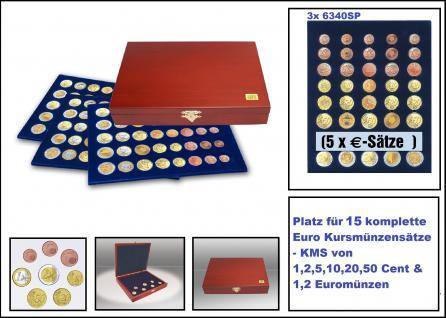 SAFE 5892 Elegance Echtholz Münzkassetten mahagonifarbend 3 Tableaus 6340 15x Euro KMS Kursmünzensätze 1, 2, 5, 10, 20, 50 Cent - 1, 2 € Euromünzen