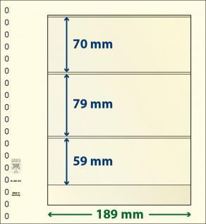 10 x LINDNER 802301P T-Blanko-Blätter Blankoblatt 18-Ring Lochung - 3 Taschen 76 / 79 / 59 x 189 mm