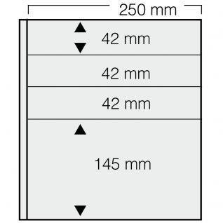 5 x SAFE 7240 Einsteckblätter GARANT Weiss beidseitig nutzbar 3 Taschen 250 x 42 mm & 1 Tasche 250 x 145 mm Für Briefmarken Briefe Sammelobjekte