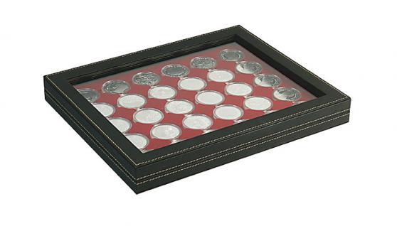 LINDNER 2367-2937E Nera M PLUS Münzkassetten Einlage Dunkelrot Rot für 30 x Münzen bis 37 mm mit glasklarem Sichtfenster - Ideal für 10 & 20 Euro DM in orig. Münzkapseln 32, 5 PP