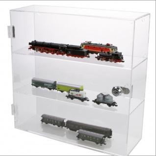SAFE 5247 Grosse Acrylglas Design Viitrinen Setzkasten Box 320 x 320 x 110 mm 3 Ebenen abschließbar Universal Für Modellbau Eisenbahnen bis Größe H0