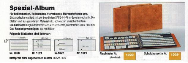 5 x SAFE 1024 Ergänzungsblätter mit 4 Taschen 423x70 mm + schwarze ZWL Für Blocks Viererblocks - Vorschau 2