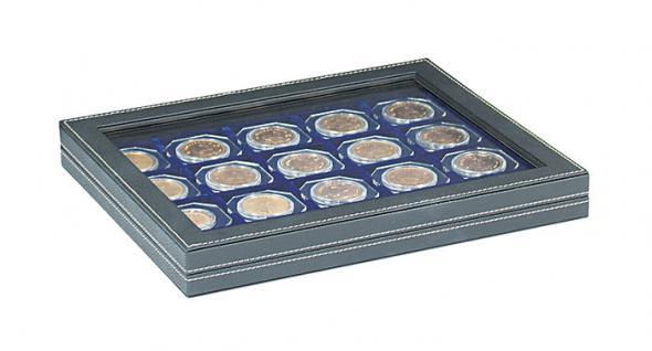 LINDNER 2367-2122ME Nera M Plus Münzkassetten mit Einlage Marine Blau + Sichtfenster Für 20 Octo Carree Münzkapseln