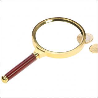 """SAFE 4658 Stiellupe Lupe """" Rosenholz Gold-Edition XL """" Linse 85 mm 3x fache Vergrößerung"""
